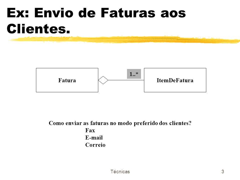 Técnicas3 Ex: Envio de Faturas aos Clientes. FaturaItemDeFatura Como enviar as faturas no modo preferido dos clientes? Fax E-mail Correio 1..*