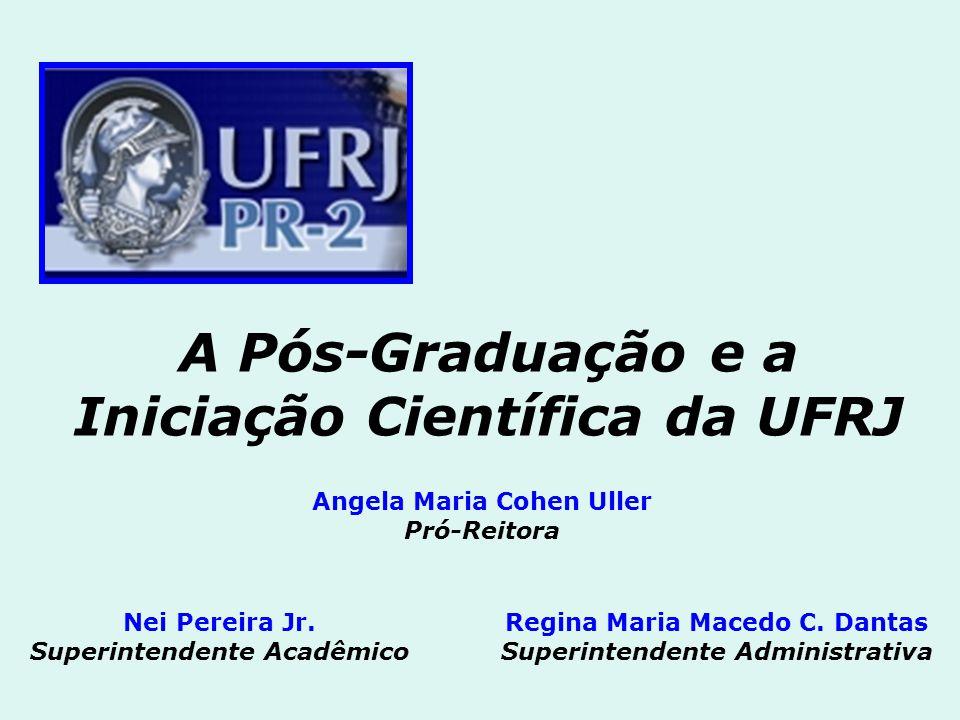A Pós-Graduação e a Iniciação Científica da UFRJ Angela Maria Cohen Uller Pró-Reitora Nei Pereira Jr. Superintendente Acadêmico Regina Maria Macedo C.
