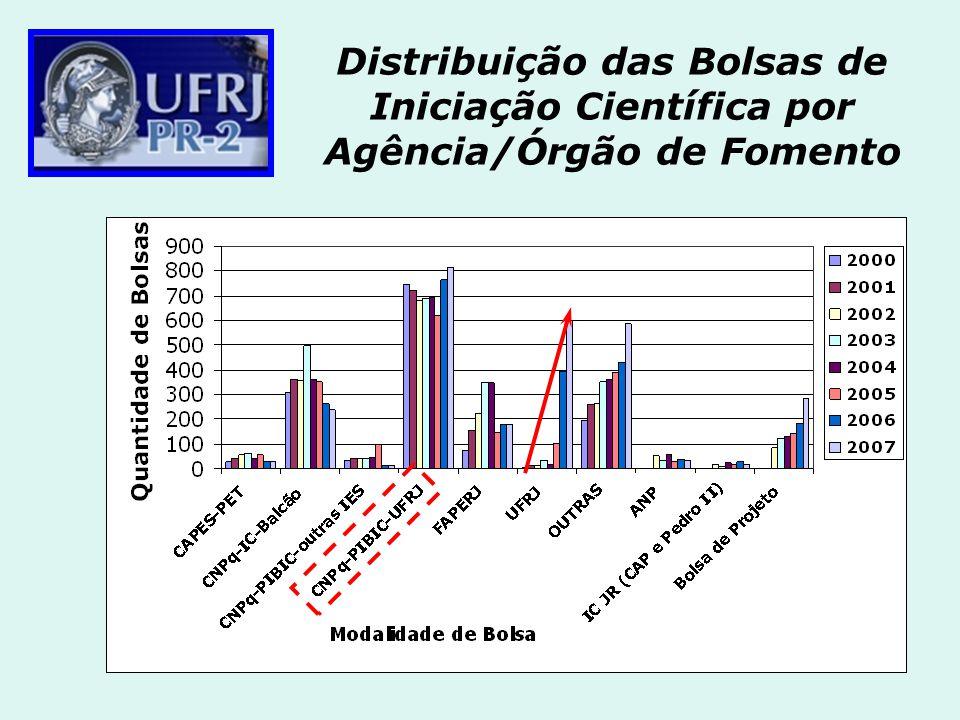 Distribuição das Bolsas de Iniciação Científica por Agência/Órgão de Fomento