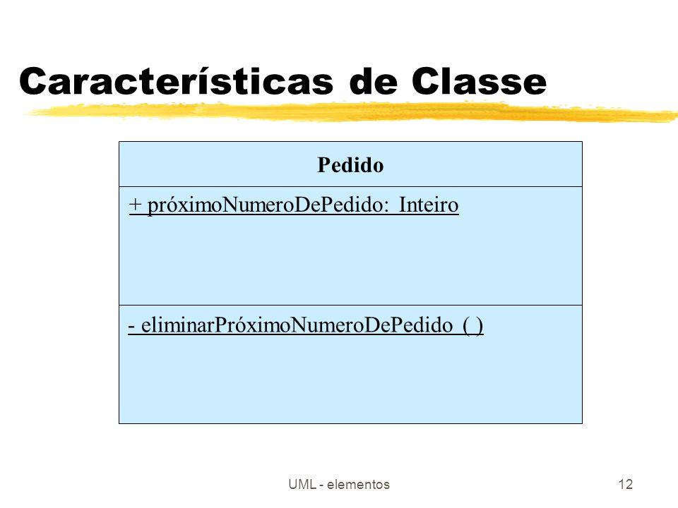 UML - elementos12 Características de Classe Pedido + próximoNumeroDePedido: Inteiro - eliminarPróximoNumeroDePedido ( )