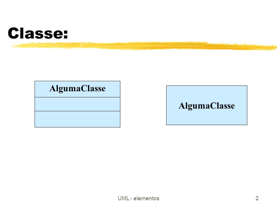 UML - elementos2 Classe: AlgumaClasse