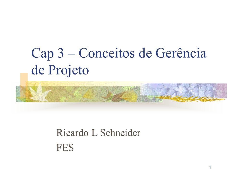 1 Cap 3 – Conceitos de Gerência de Projeto Ricardo L Schneider FES