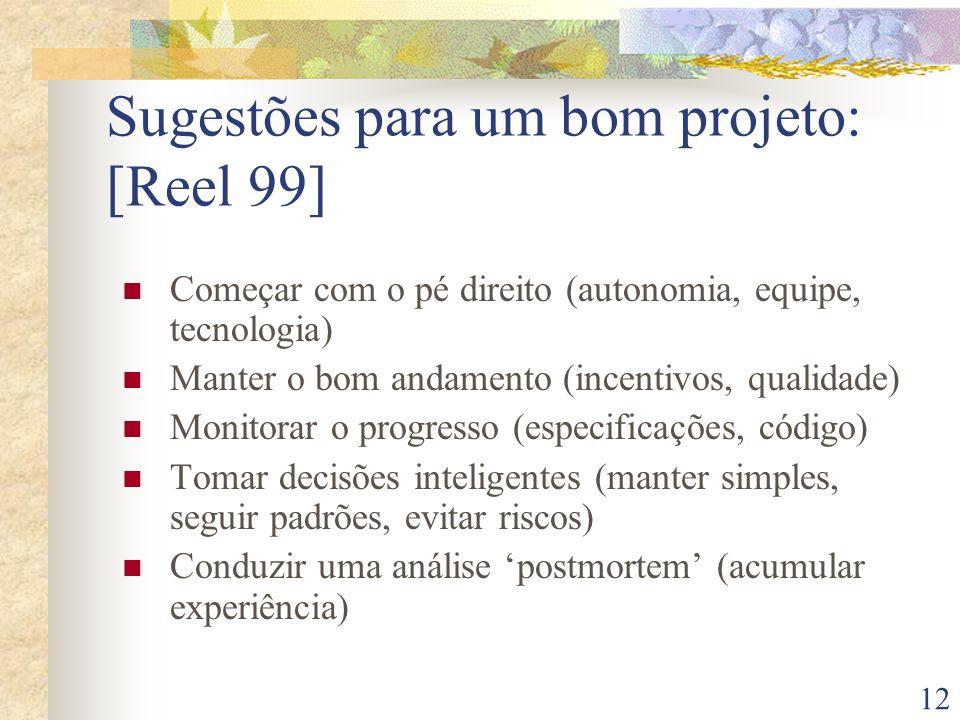 12 Sugestões para um bom projeto: [Reel 99] Começar com o pé direito (autonomia, equipe, tecnologia) Manter o bom andamento (incentivos, qualidade) Mo