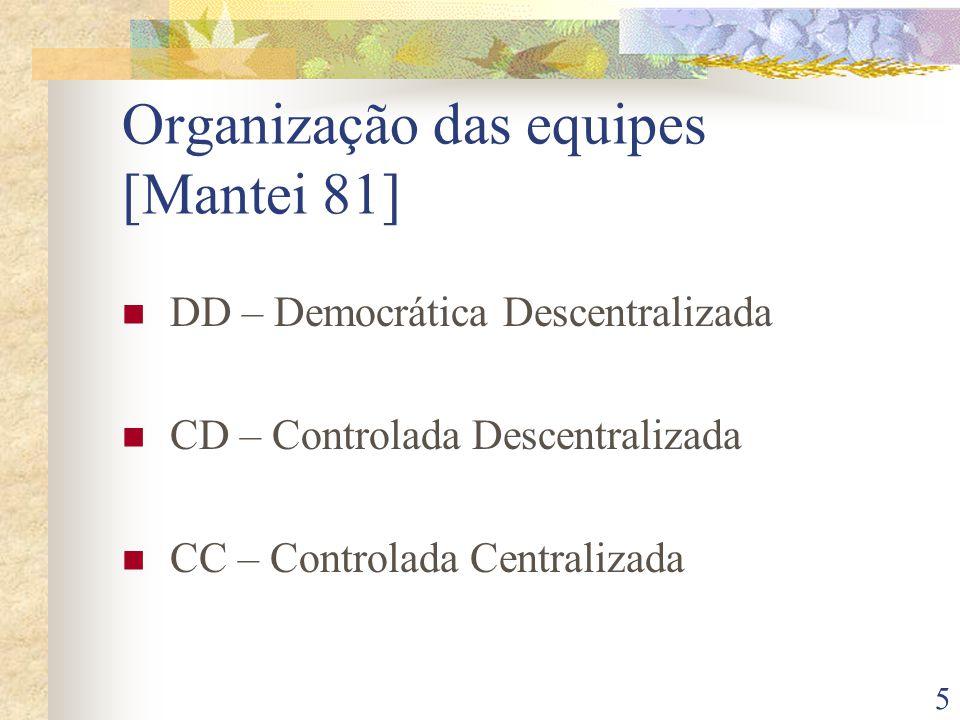 5 Organização das equipes [Mantei 81] DD – Democrática Descentralizada CD – Controlada Descentralizada CC – Controlada Centralizada