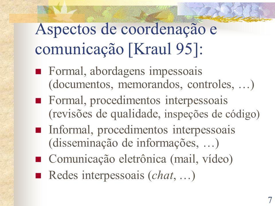 7 Aspectos de coordenação e comunicação [Kraul 95]: Formal, abordagens impessoais (documentos, memorandos, controles, …) Formal, procedimentos interpe
