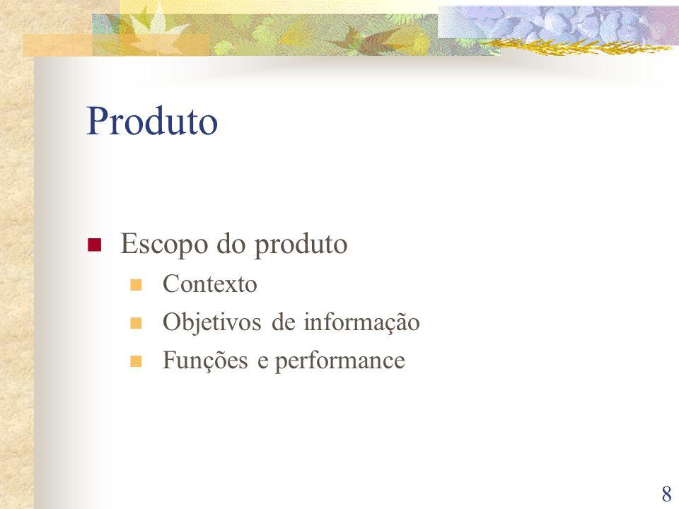 8 Produto Escopo do produto Contexto Objetivos de informação Funções e performance