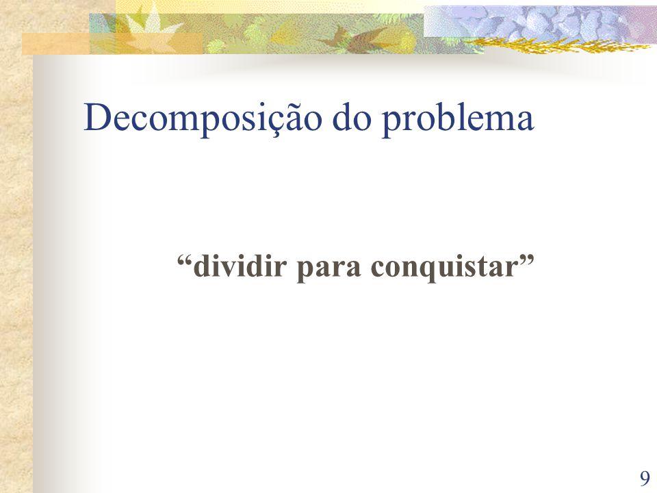 9 Decomposição do problema dividir para conquistar