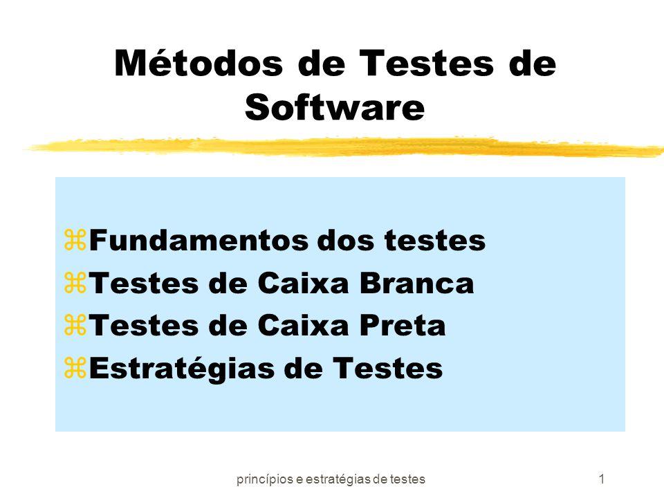 princípios e estratégias de testes2 Objetivos dos Testes [Myers79]: zTestar é um processo de executar um programa com a intenção de encontrar erros zUm bom teste é aquele com alta probabilidade de encontrar erros ainda não descobertos zUm teste bem sucedido é o que encontra erros