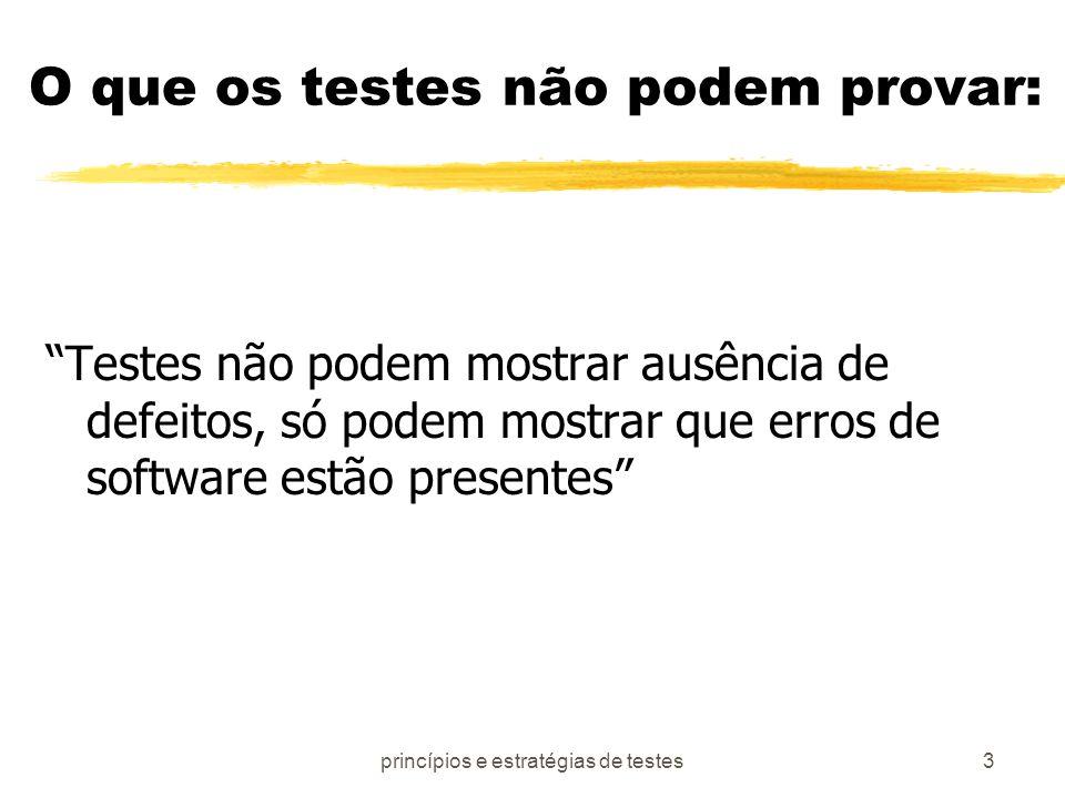 princípios e estratégias de testes4 Princípios de testes: zTodos os testes devem ser auditáveis desde os requisitos dos usuários zTestes devem ser planejados bem antes do início zO princípio de Pareto (80 x 20) se aplica zTestes exaustivos não são possíveis zConduzido por terceiros