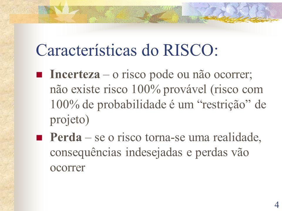 4 Características do RISCO: Incerteza – o risco pode ou não ocorrer; não existe risco 100% provável (risco com 100% de probabilidade é um restrição de projeto) Perda – se o risco torna-se uma realidade, consequências indesejadas e perdas vão ocorrer
