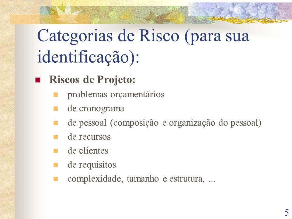 5 Categorias de Risco (para sua identificação): Riscos de Projeto: problemas orçamentários de cronograma de pessoal (composição e organização do pessoal) de recursos de clientes de requisitos complexidade, tamanho e estrutura,...
