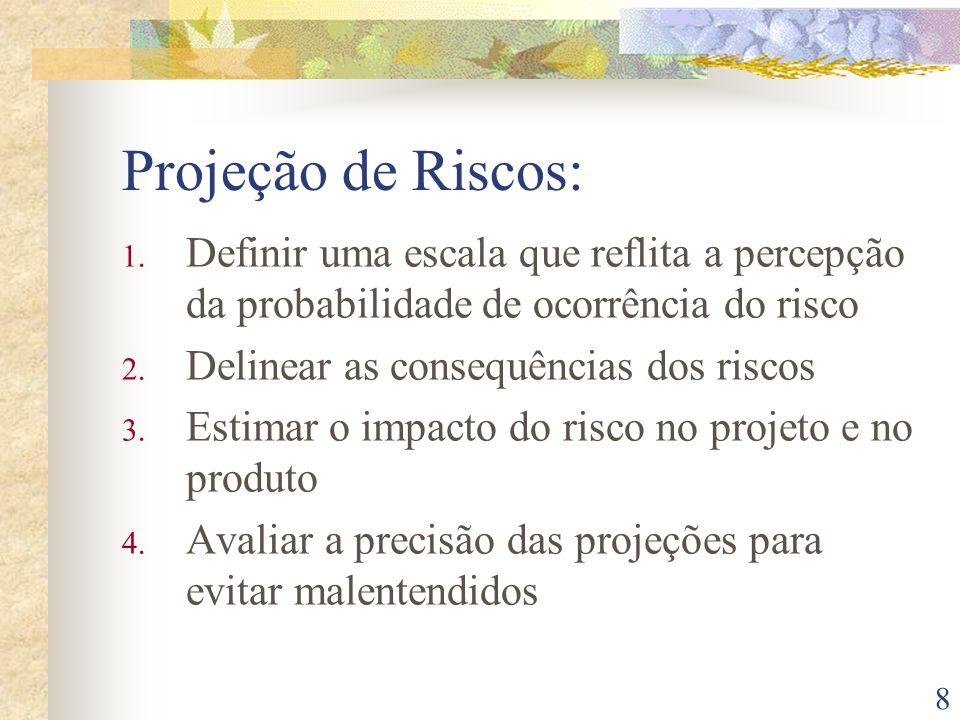 8 Projeção de Riscos: 1. Definir uma escala que reflita a percepção da probabilidade de ocorrência do risco 2. Delinear as consequências dos riscos 3.