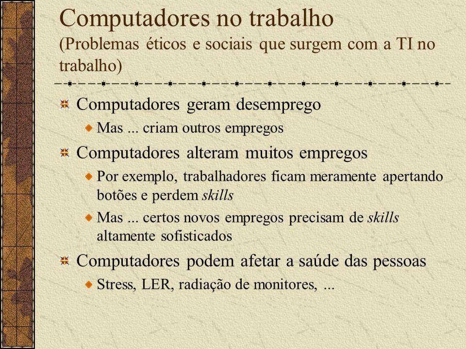 Crime com computador Vírus, worms, cavalos de Tróia, bombas lógicas Fraude Freqüentemente perpetrada através de profissionais de computação