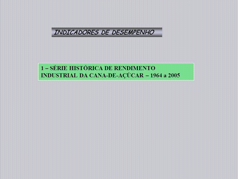 INDICADORES DE DESEMPENHO 1 – SÉRIE HISTÓRICA DE RENDIMENTO INDUSTRIAL DA CANA-DE-AÇÚCAR – 1964 a 2005