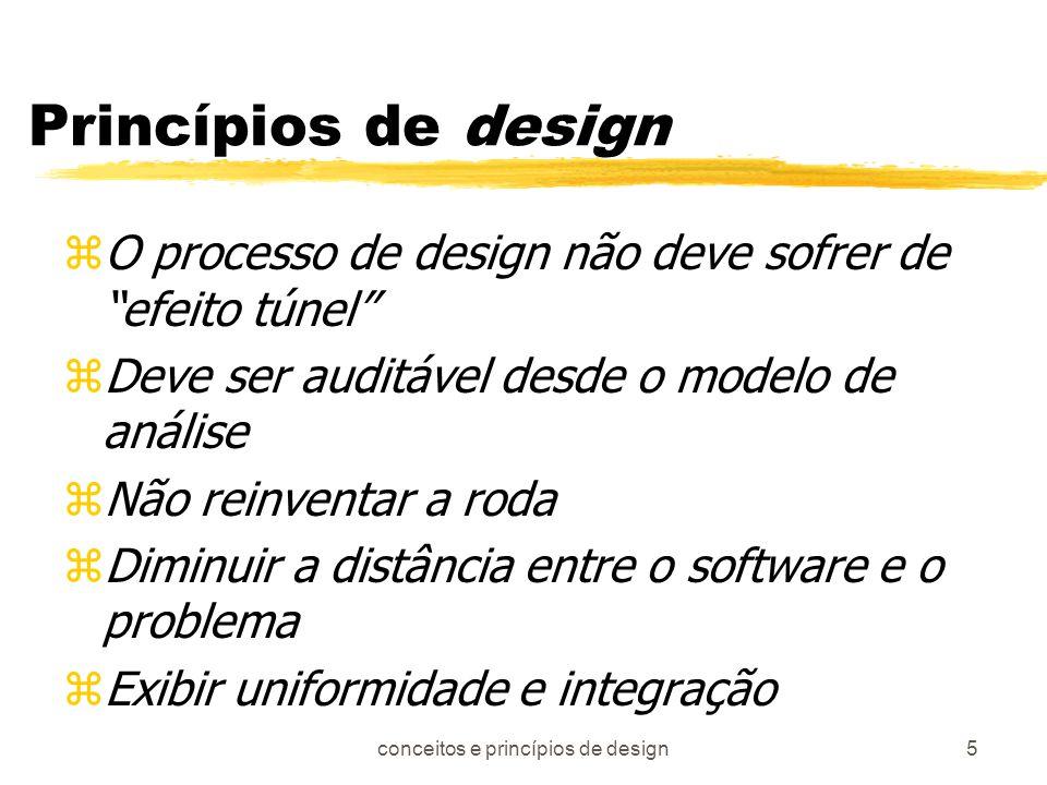 conceitos e princípios de design6 (cont...) zDeve acomodar mudanças zdegradar suavemente znão é codificação zvisar qualidade por construção zdeve ser revisado visando minimizar erros conceituais