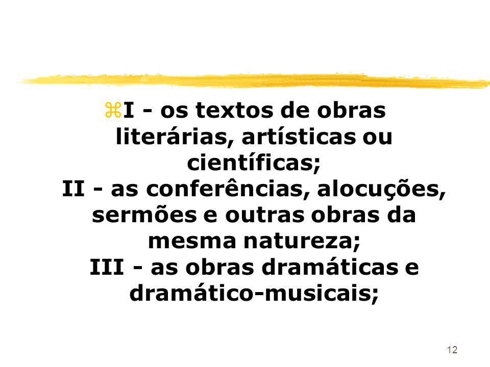 12 zI - os textos de obras literárias, artísticas ou científicas; II - as conferências, alocuções, sermões e outras obras da mesma natureza; III - as