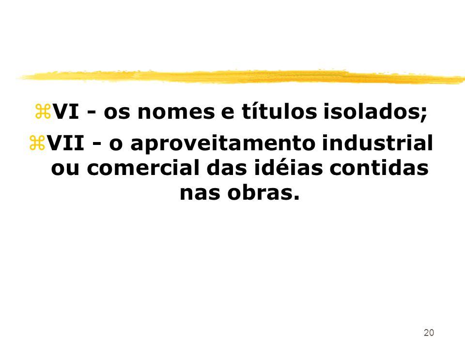 20 zVI - os nomes e títulos isolados; zVII - o aproveitamento industrial ou comercial das idéias contidas nas obras.