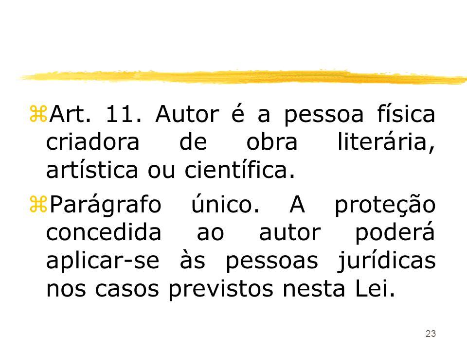 23 zArt. 11. Autor é a pessoa física criadora de obra literária, artística ou científica. zParágrafo único. A proteção concedida ao autor poderá aplic