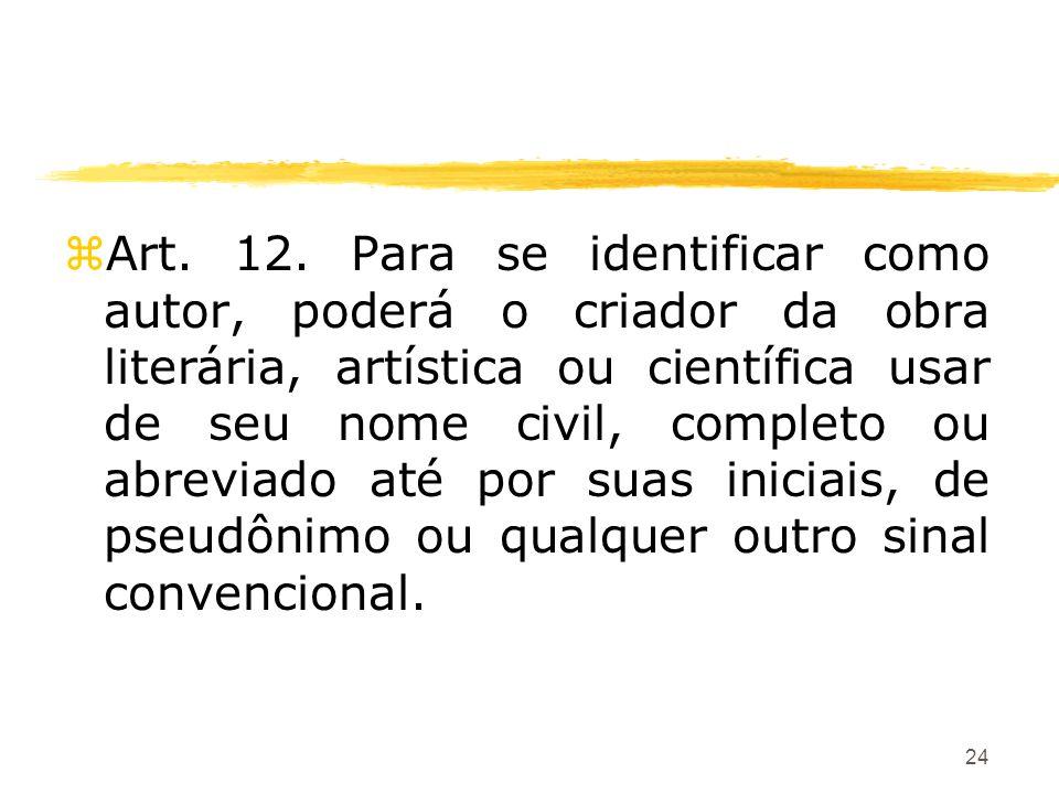 24 zArt. 12. Para se identificar como autor, poderá o criador da obra literária, artística ou científica usar de seu nome civil, completo ou abreviado