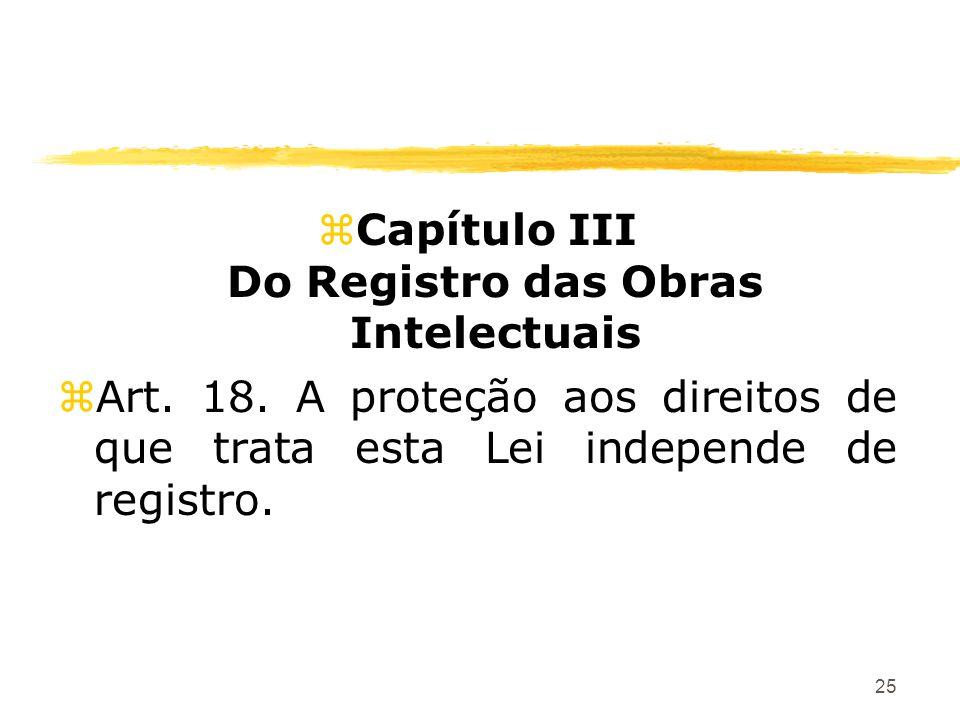 25 zCapítulo III Do Registro das Obras Intelectuais zArt. 18. A proteção aos direitos de que trata esta Lei independe de registro.