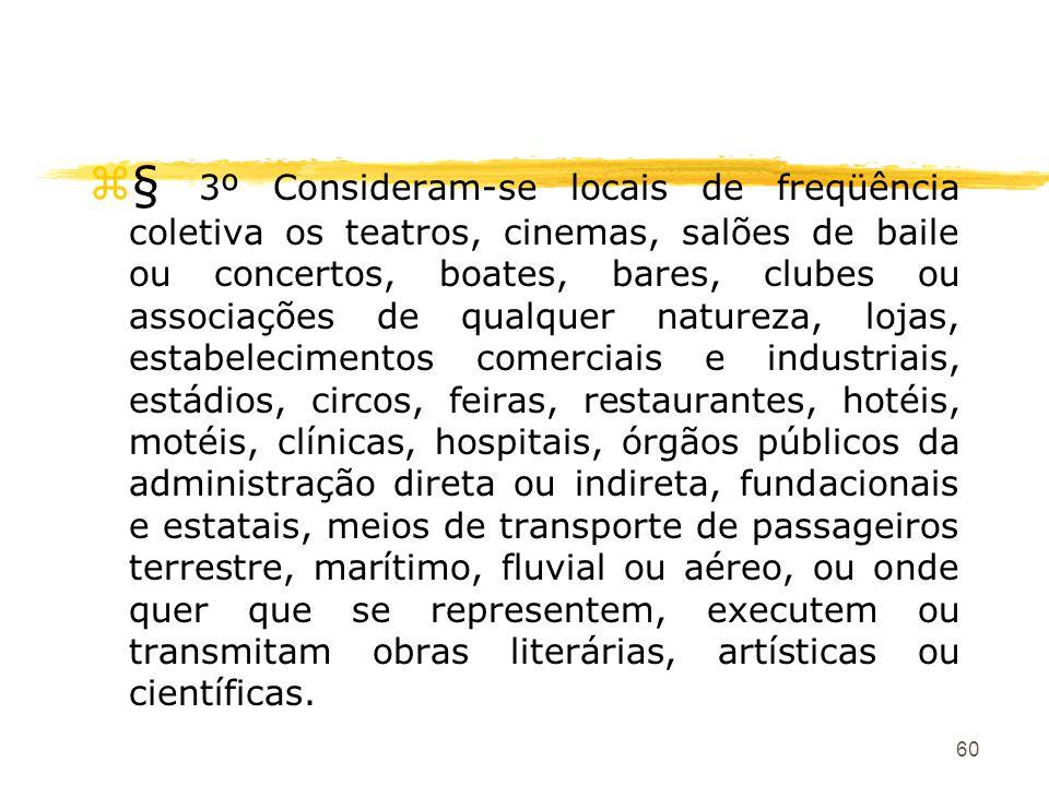 60 z§ 3º Consideram-se locais de freqüência coletiva os teatros, cinemas, salões de baile ou concertos, boates, bares, clubes ou associações de qualqu
