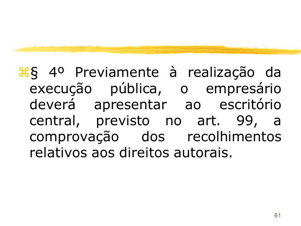 61 z§ 4º Previamente à realização da execução pública, o empresário deverá apresentar ao escritório central, previsto no art. 99, a comprovação dos re