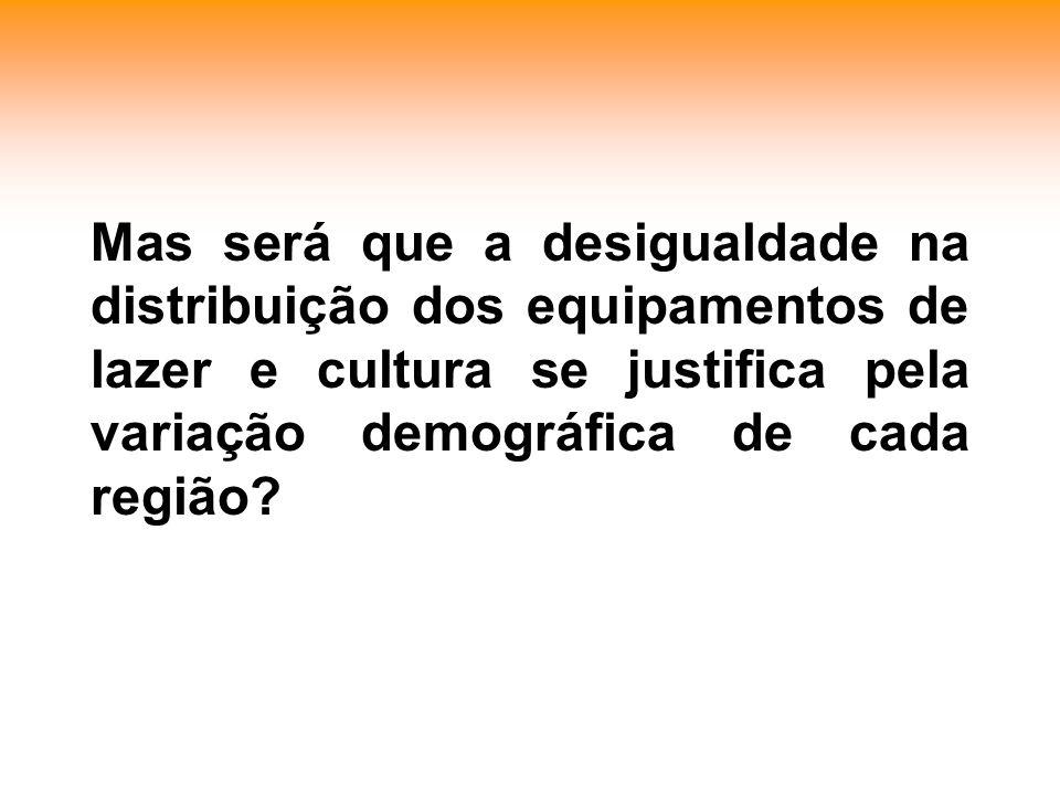 Mas será que a desigualdade na distribuição dos equipamentos de lazer e cultura se justifica pela variação demográfica de cada região?