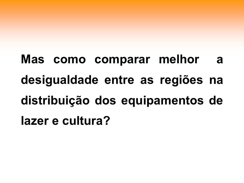 Mas como comparar melhor a desigualdade entre as regiões na distribuição dos equipamentos de lazer e cultura?