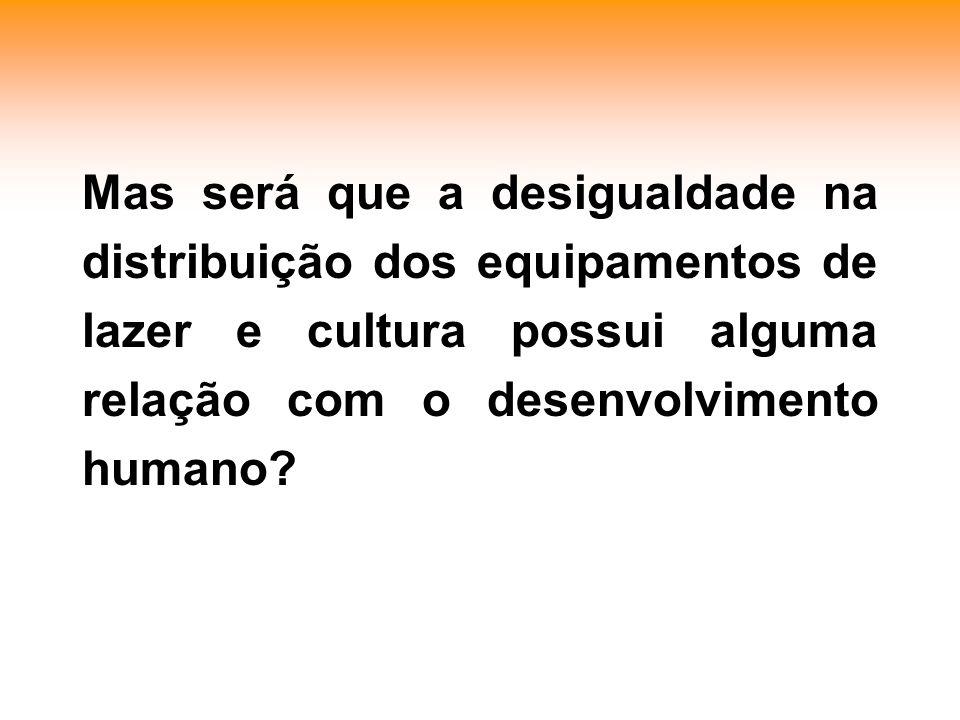 Mas será que a desigualdade na distribuição dos equipamentos de lazer e cultura possui alguma relação com o desenvolvimento humano?