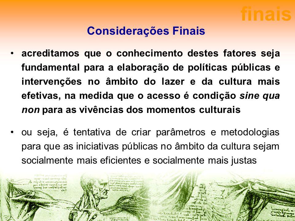 Considerações Finais acreditamos que o conhecimento destes fatores seja fundamental para a elaboração de políticas públicas e intervenções no âmbito d