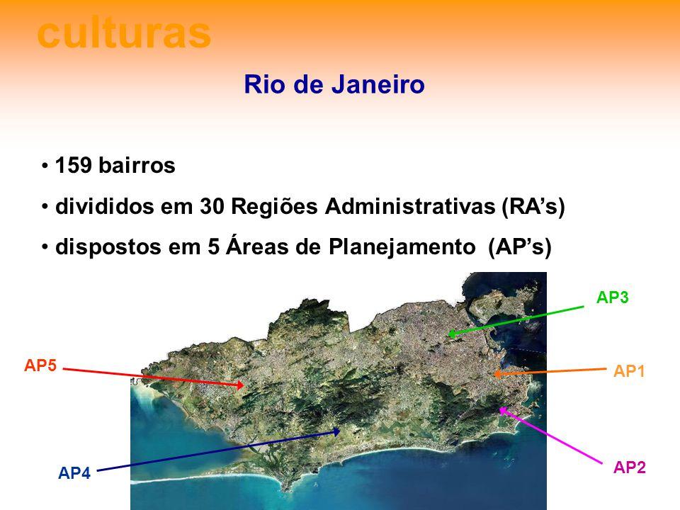 culturas Rio de Janeiro 159 bairros divididos em 30 Regiões Administrativas (RAs) dispostos em 5 Áreas de Planejamento (APs) AP5 AP4 AP2 AP1 AP3