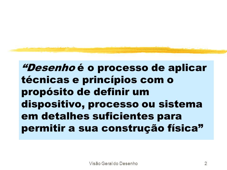 Visão Geral do Desenho2 Desenho é o processo de aplicar técnicas e princípios com o propósito de definir um dispositivo, processo ou sistema em detalh