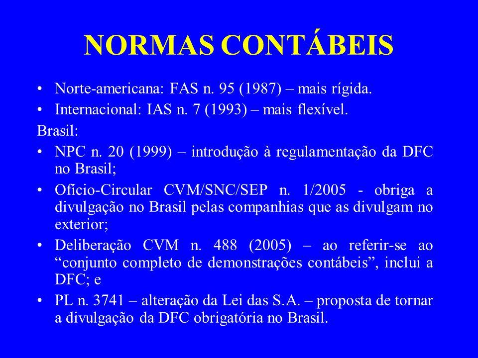 NORMAS CONTÁBEIS Norte-americana: FAS n. 95 (1987) – mais rígida. Internacional: IAS n. 7 (1993) – mais flexível. Brasil: NPC n. 20 (1999) – introduçã