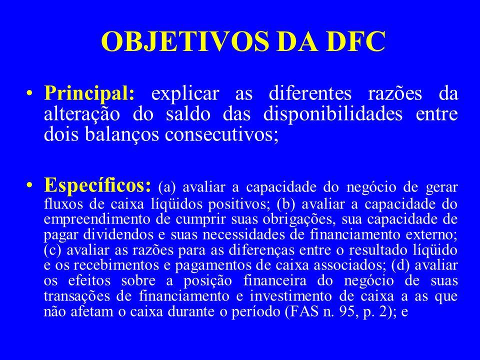 OBJETIVOS DA DFC Principal: explicar as diferentes razões da alteração do saldo das disponibilidades entre dois balanços consecutivos; Específicos: (a) avaliar a capacidade do negócio de gerar fluxos de caixa líqüidos positivos; (b) avaliar a capacidade do empreendimento de cumprir suas obrigações, sua capacidade de pagar dividendos e suas necessidades de financiamento externo; (c) avaliar as razões para as diferenças entre o resultado líqüido e os recebimentos e pagamentos de caixa associados; (d) avaliar os efeitos sobre a posição financeira do negócio de suas transações de financiamento e investimento de caixa a as que não afetam o caixa durante o período (FAS n.