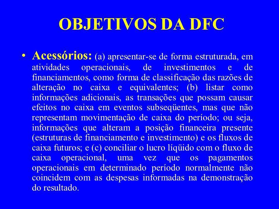 OBJETIVOS DA DFC Acessórios: (a) apresentar-se de forma estruturada, em atividades operacionais, de investimentos e de financiamentos, como forma de c
