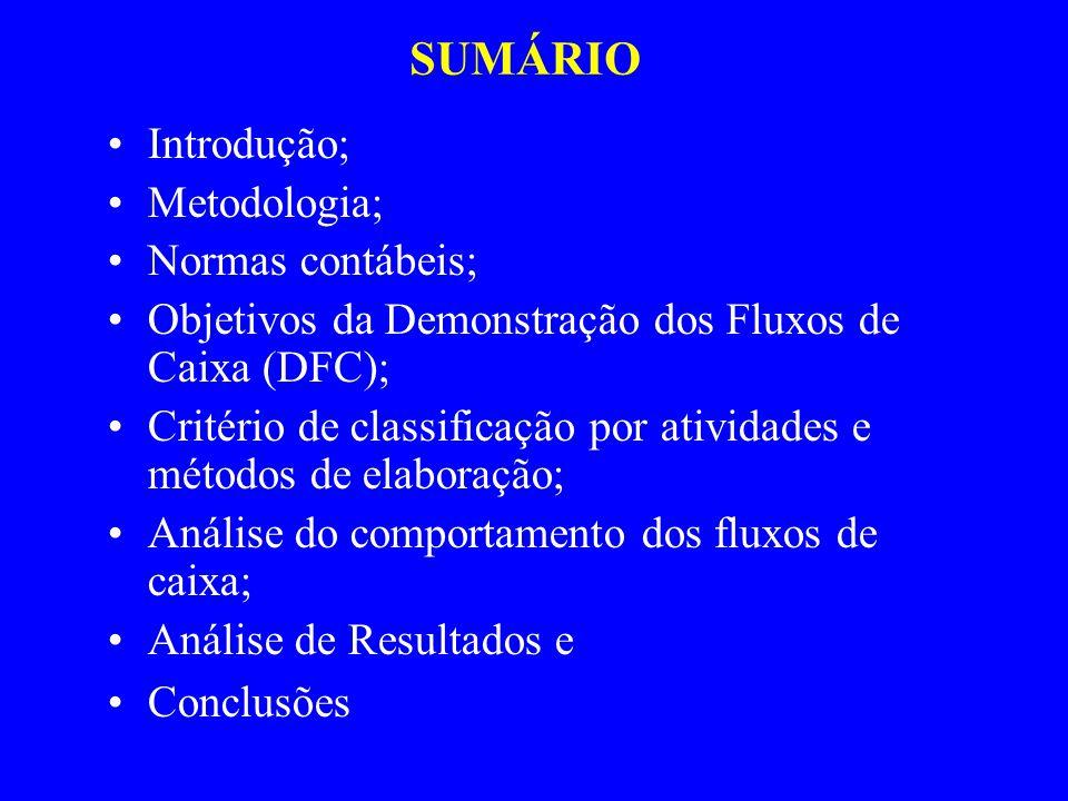 SUMÁRIO Introdução; Metodologia; Normas contábeis; Objetivos da Demonstração dos Fluxos de Caixa (DFC); Critério de classificação por atividades e métodos de elaboração; Análise do comportamento dos fluxos de caixa; Análise de Resultados e Conclusões