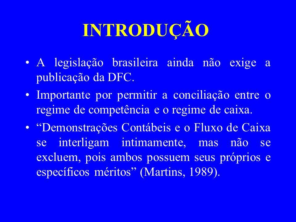 INTRODUÇÃO A legislação brasileira ainda não exige a publicação da DFC. Importante por permitir a conciliação entre o regime de competência e o regime