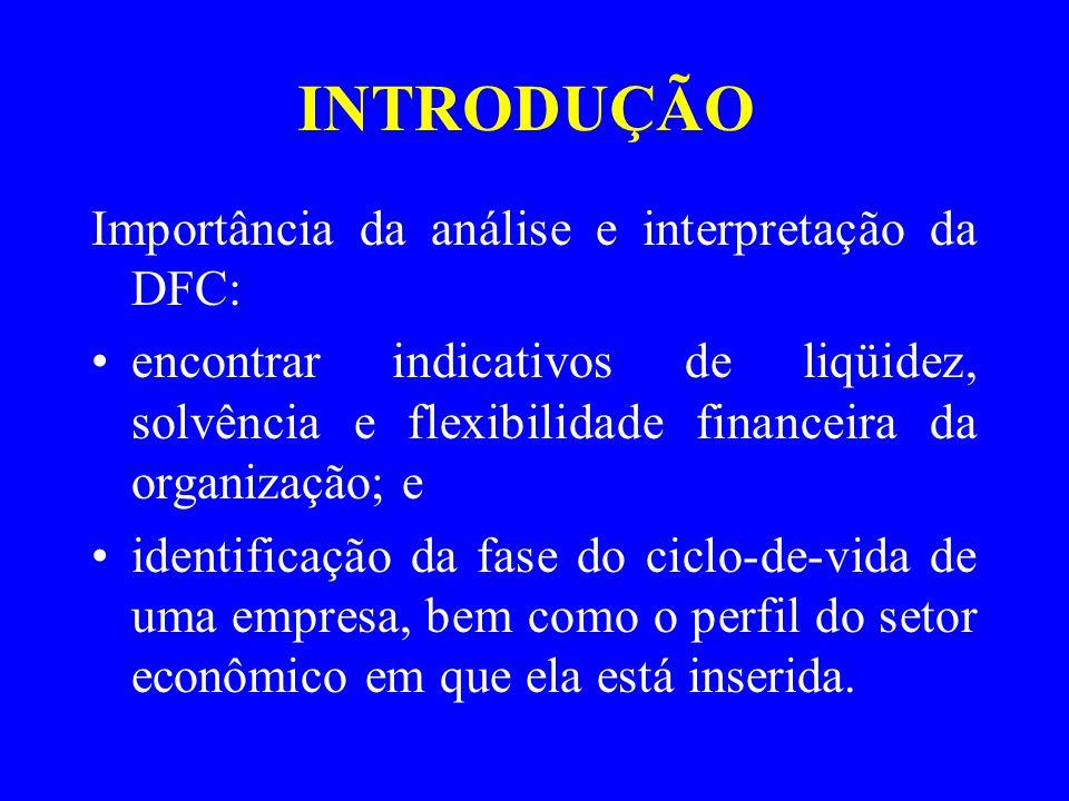 INTRODUÇÃO Importância da análise e interpretação da DFC: encontrar indicativos de liqüidez, solvência e flexibilidade financeira da organização; e identificação da fase do ciclo-de-vida de uma empresa, bem como o perfil do setor econômico em que ela está inserida.
