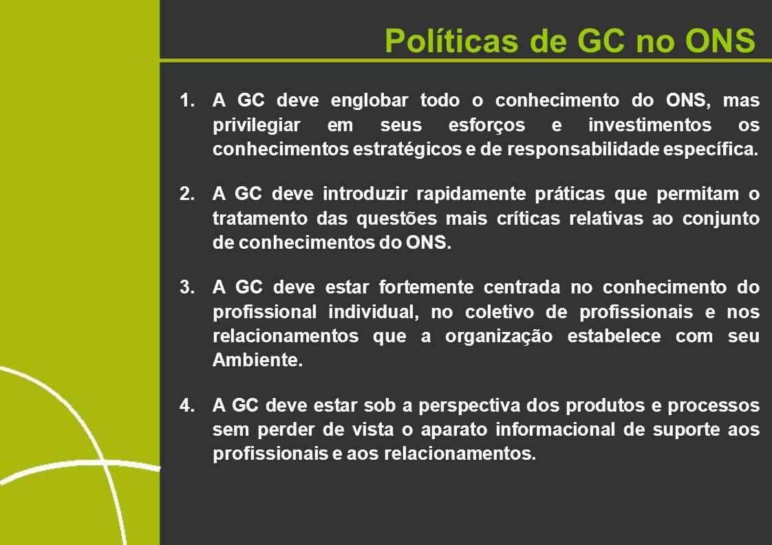 Políticas de GC no ONS 1.A GC deve englobar todo o conhecimento do ONS, mas privilegiar em seus esforços e investimentos os conhecimentos estratégicos e de responsabilidade específica.