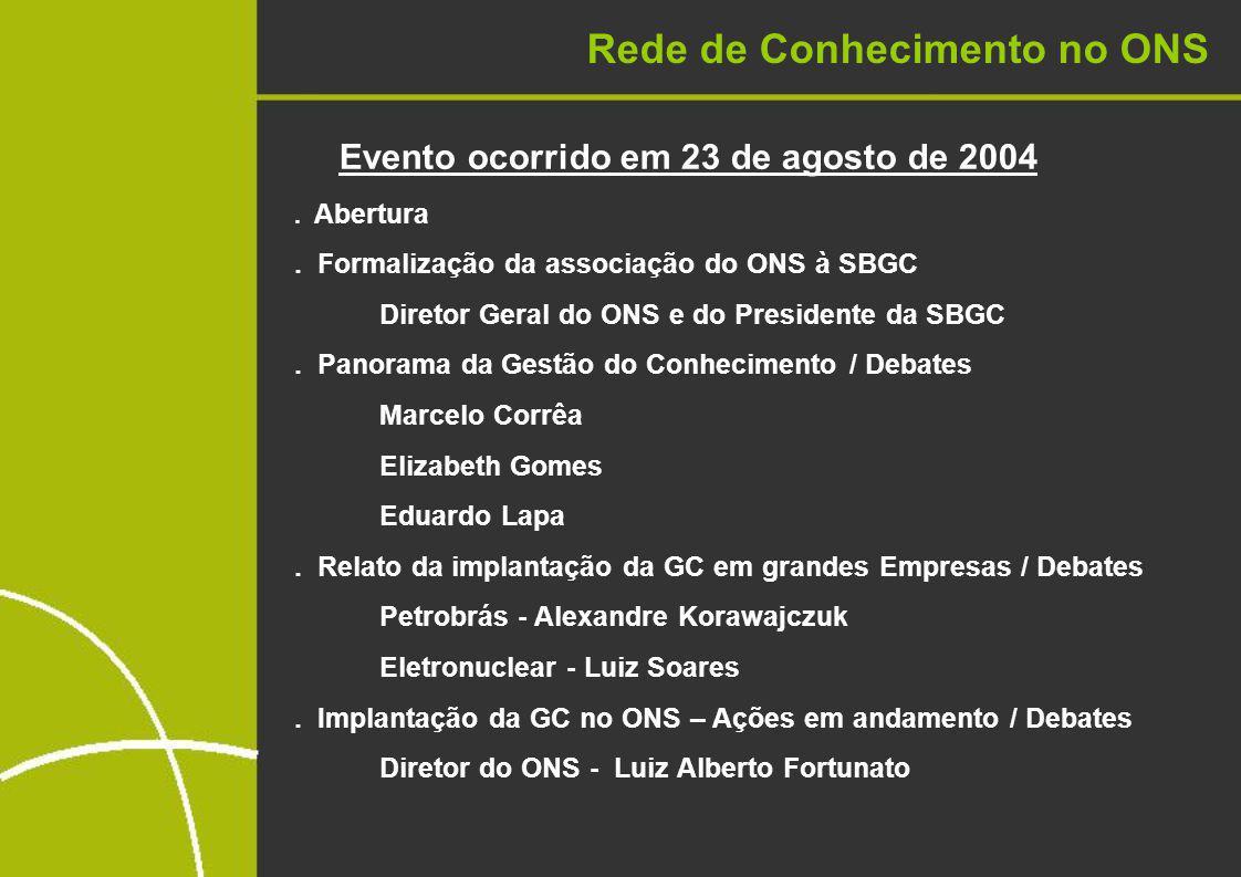 Rede de Conhecimento no ONS Evento ocorrido em 23 de agosto de 2004.