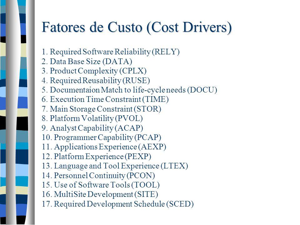 Fatores de Custo (Cost Drivers) Fatores de Custo (Cost Drivers) 1.
