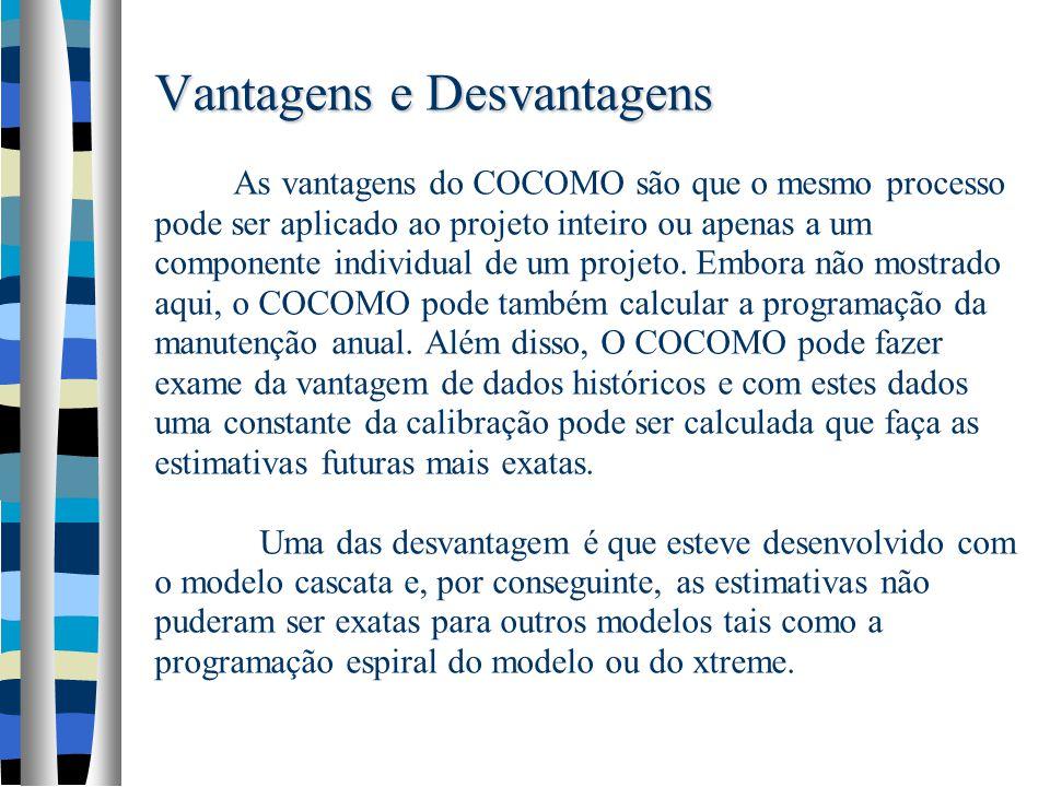Vantagens e Desvantagens Vantagens e Desvantagens As vantagens do COCOMO são que o mesmo processo pode ser aplicado ao projeto inteiro ou apenas a um componente individual de um projeto.