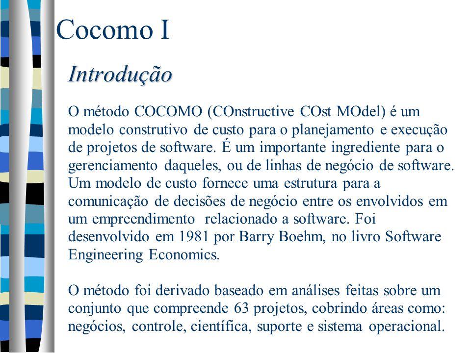 Introdução Introdução O método COCOMO (COnstructive COst MOdel) é um modelo construtivo de custo para o planejamento e execução de projetos de softwar