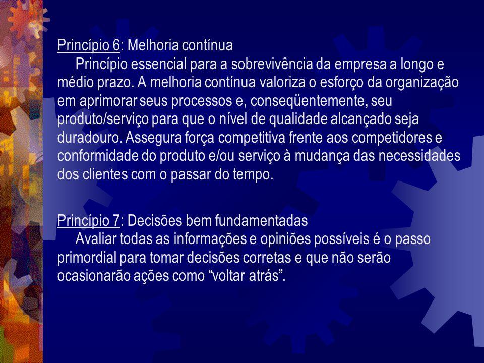 Princípio 6: Melhoria contínua Princípio essencial para a sobrevivência da empresa a longo e médio prazo. A melhoria contínua valoriza o esforço da or