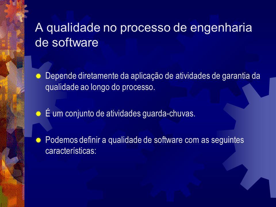 A qualidade no processo de engenharia de software Depende diretamente da aplicação de atividades de garantia da qualidade ao longo do processo. É um c