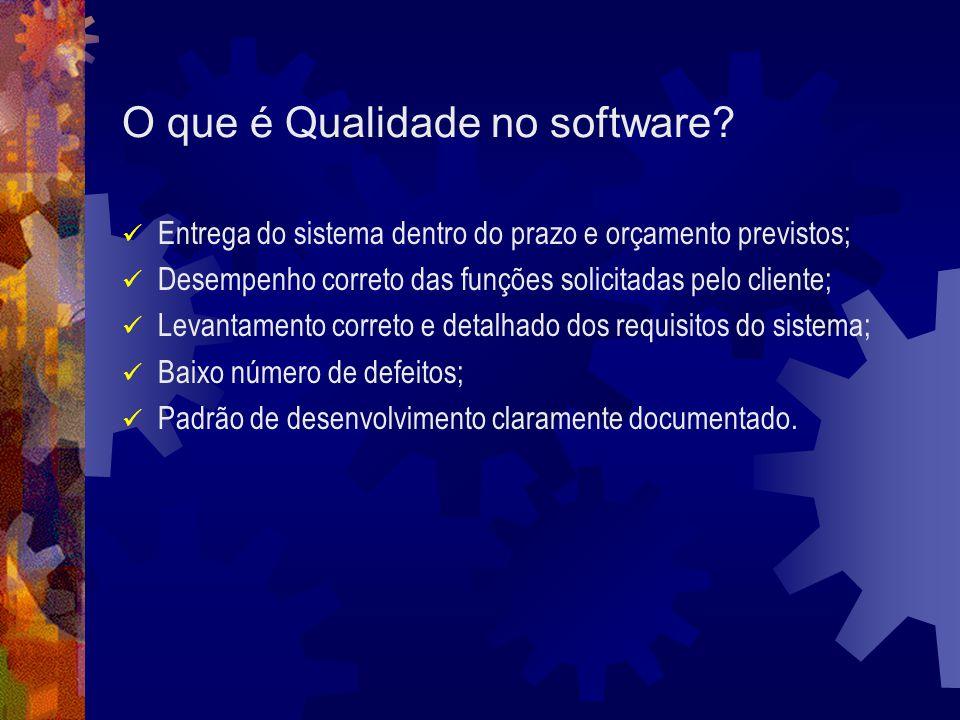 O que é Qualidade no software? Entrega do sistema dentro do prazo e orçamento previstos; Desempenho correto das funções solicitadas pelo cliente; Leva