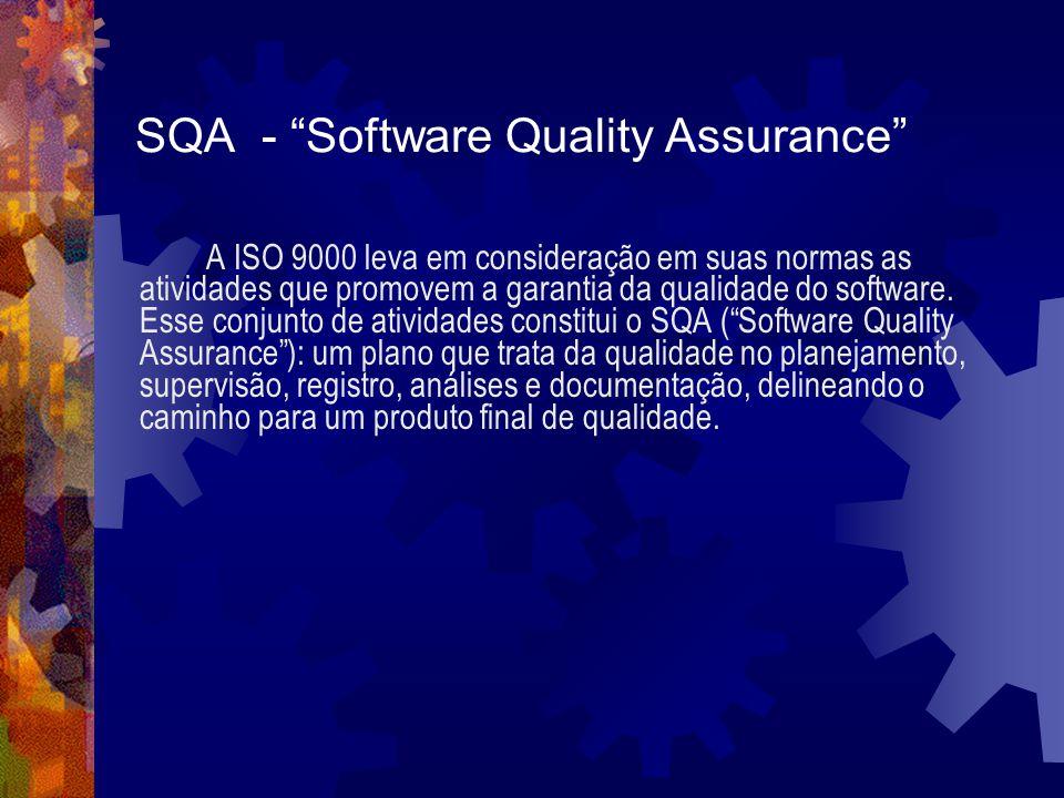 SQA - Software Quality Assurance A ISO 9000 leva em consideração em suas normas as atividades que promovem a garantia da qualidade do software. Esse c