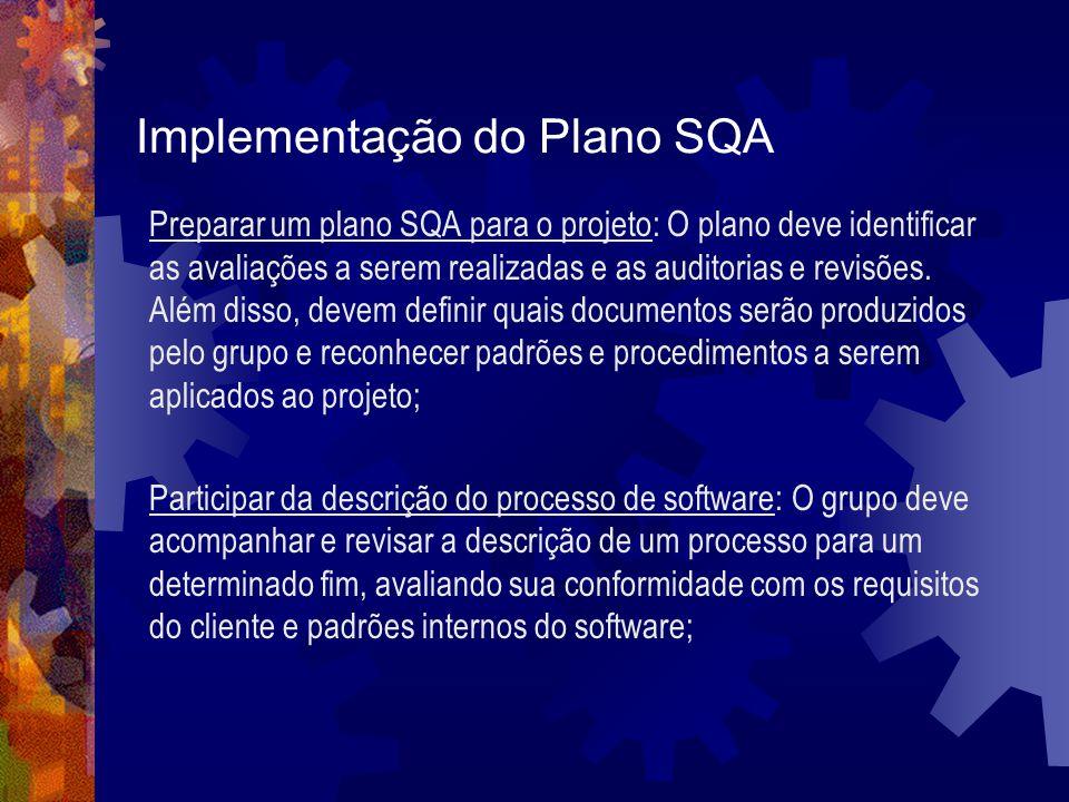 Implementação do Plano SQA Preparar um plano SQA para o projeto: O plano deve identificar as avaliações a serem realizadas e as auditorias e revisões.