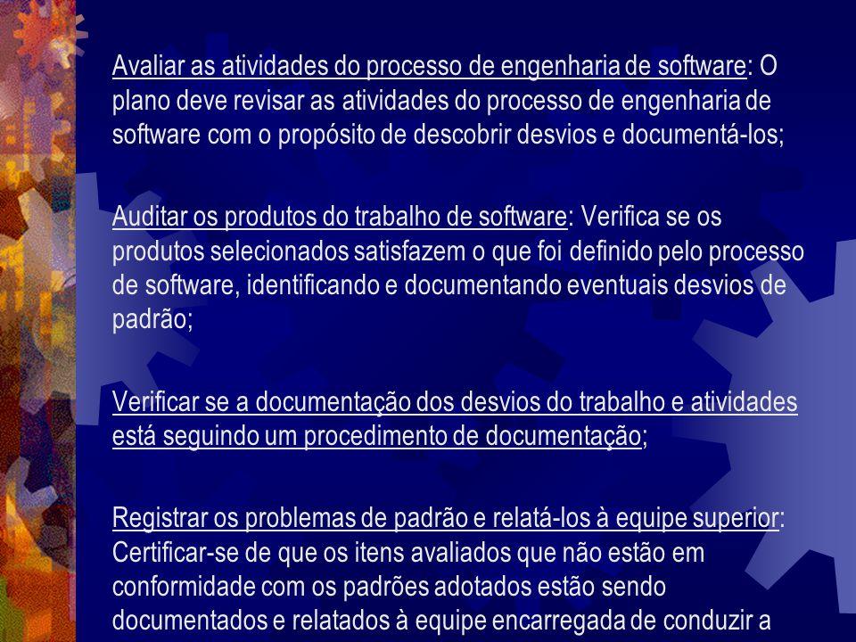 Avaliar as atividades do processo de engenharia de software: O plano deve revisar as atividades do processo de engenharia de software com o propósito