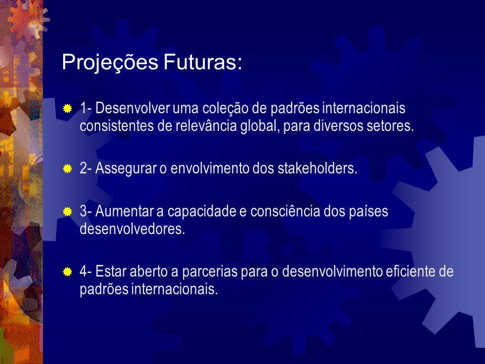 Projeções Futuras: 1- Desenvolver uma coleção de padrões internacionais consistentes de relevância global, para diversos setores. 2- Assegurar o envol